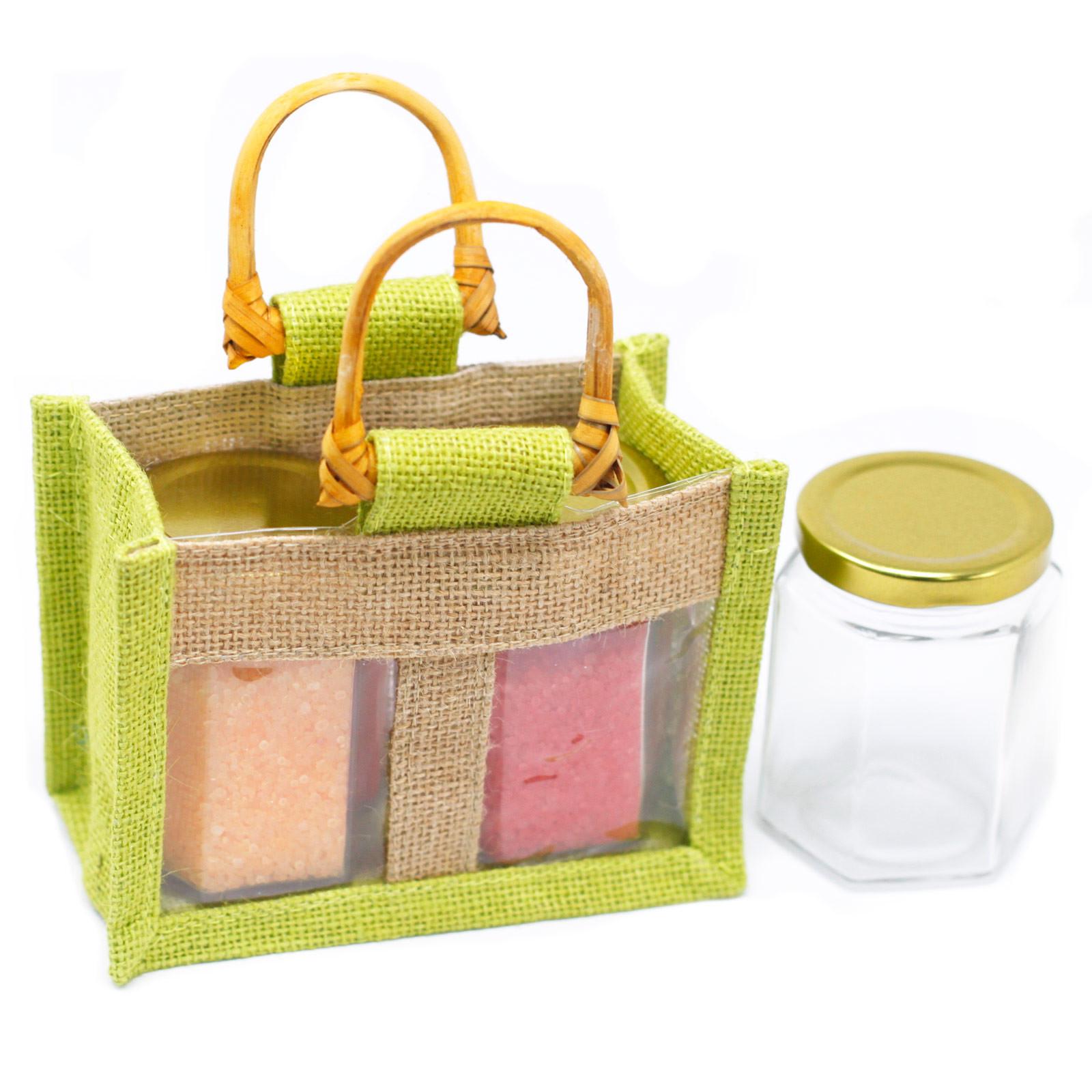 Two Jar Jute Gift Bag Green