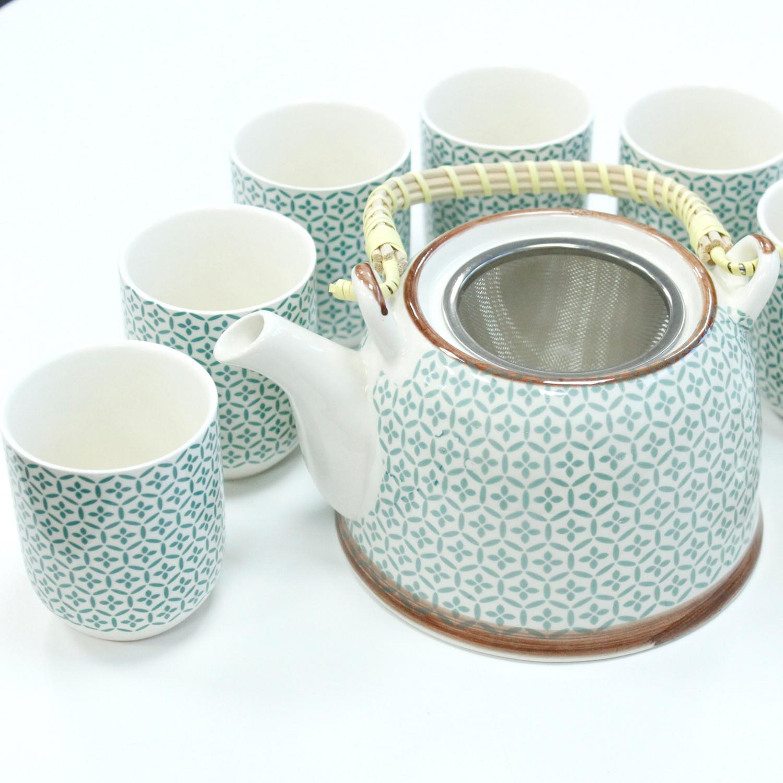 Herbal Teapot Set Green Mosaic