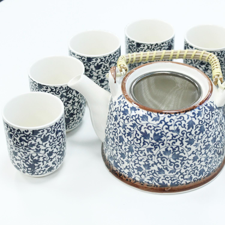Herbal Teapot Set Blue Pattern