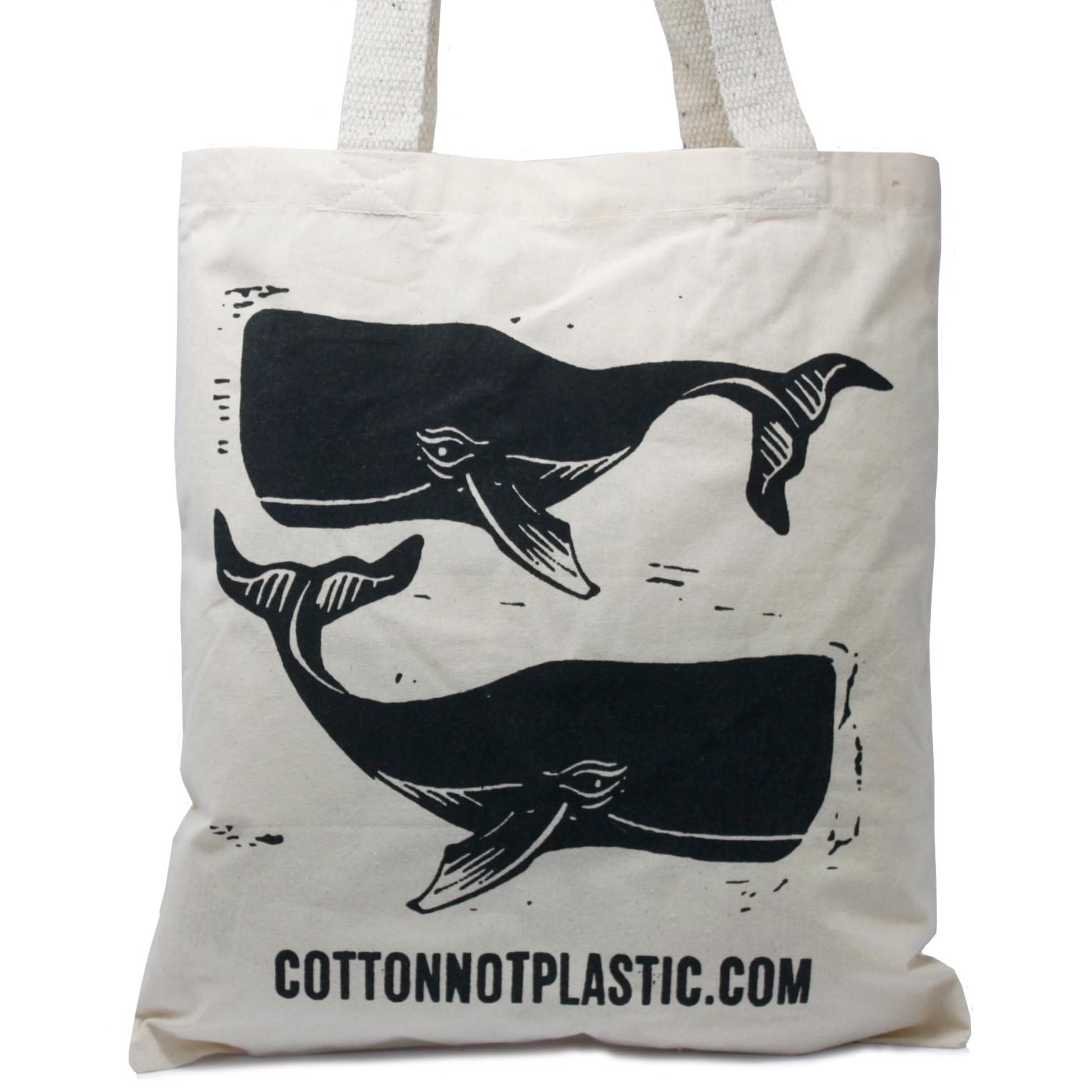 Lrg Natural 6oz Cotton Bag 38x42cm WHALES