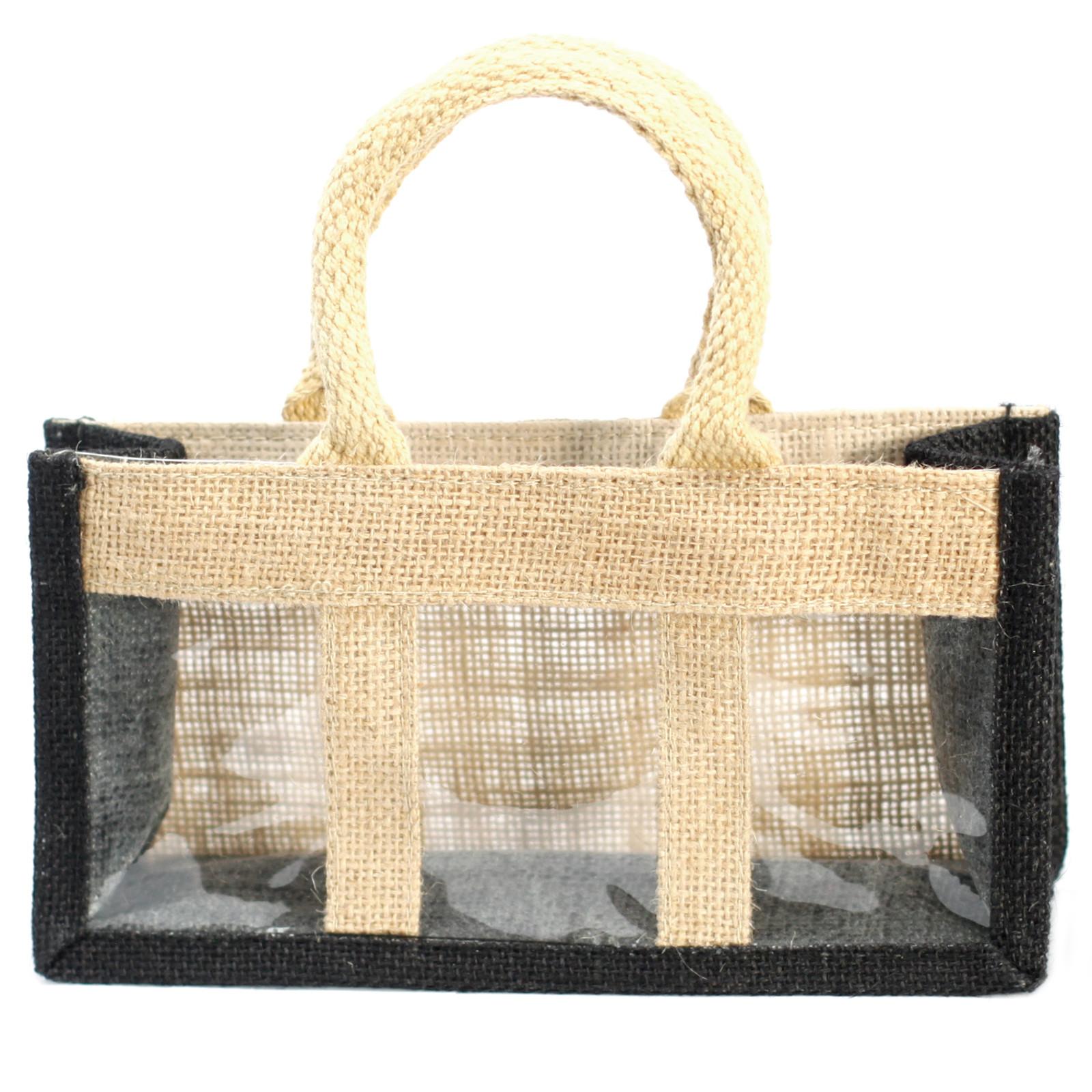Three Jar Jute Gift Bag Black Soft Handle