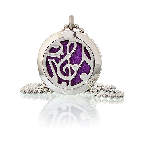 Aromatherapy Diffuser Necklace Music Notes 25mm