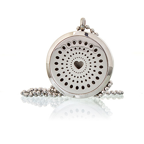 Aromatherapy Diffuser Necklace Diamonds Heart 30mm