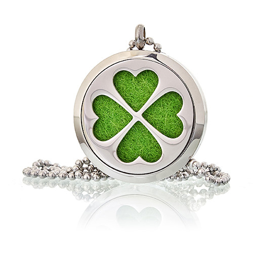Aromatherapy Diffuser Necklace Four Leaf Clover 30mm