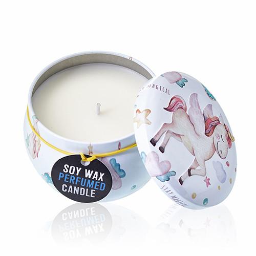 Art Tin Candle Assorted Design Unicorns Moonstone