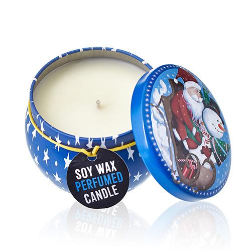Art Tin Candle Assorted Design Vintage Christmas Spiced Orange