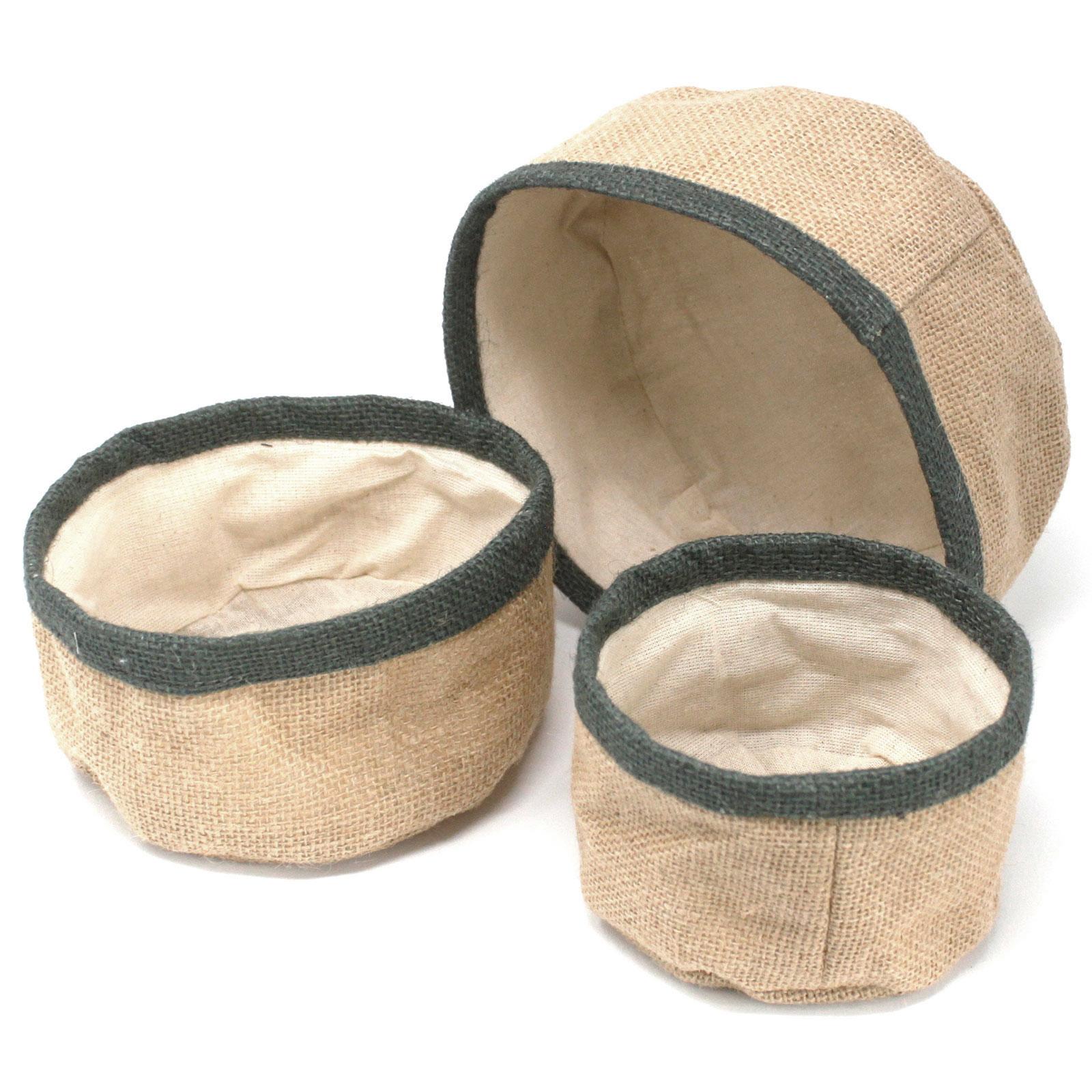 Set of 3 Natural Jute Baskets Charcoal