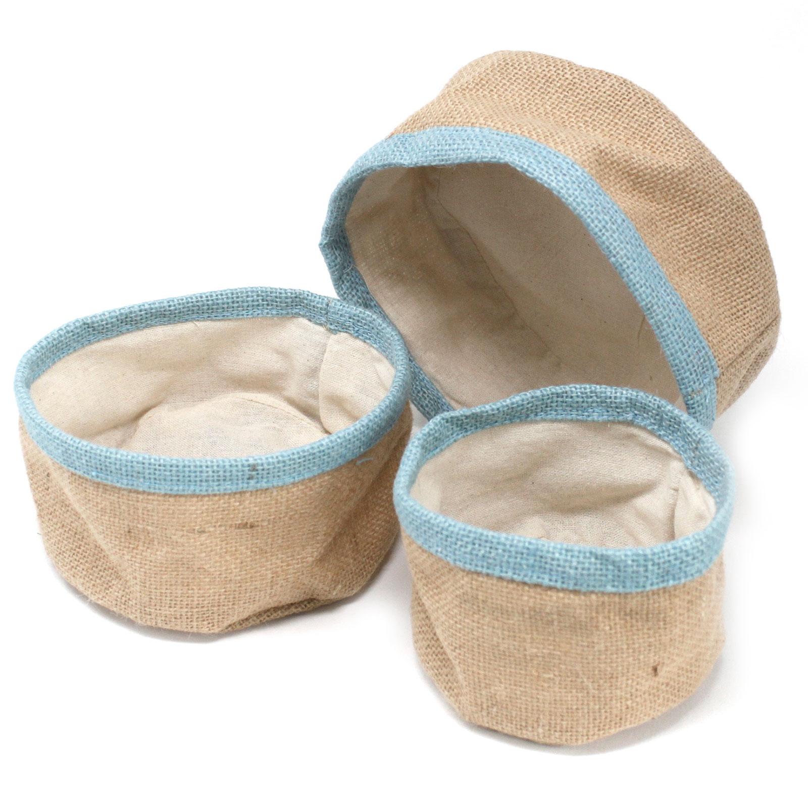 Set of 3 Natural Jute Baskets Teal