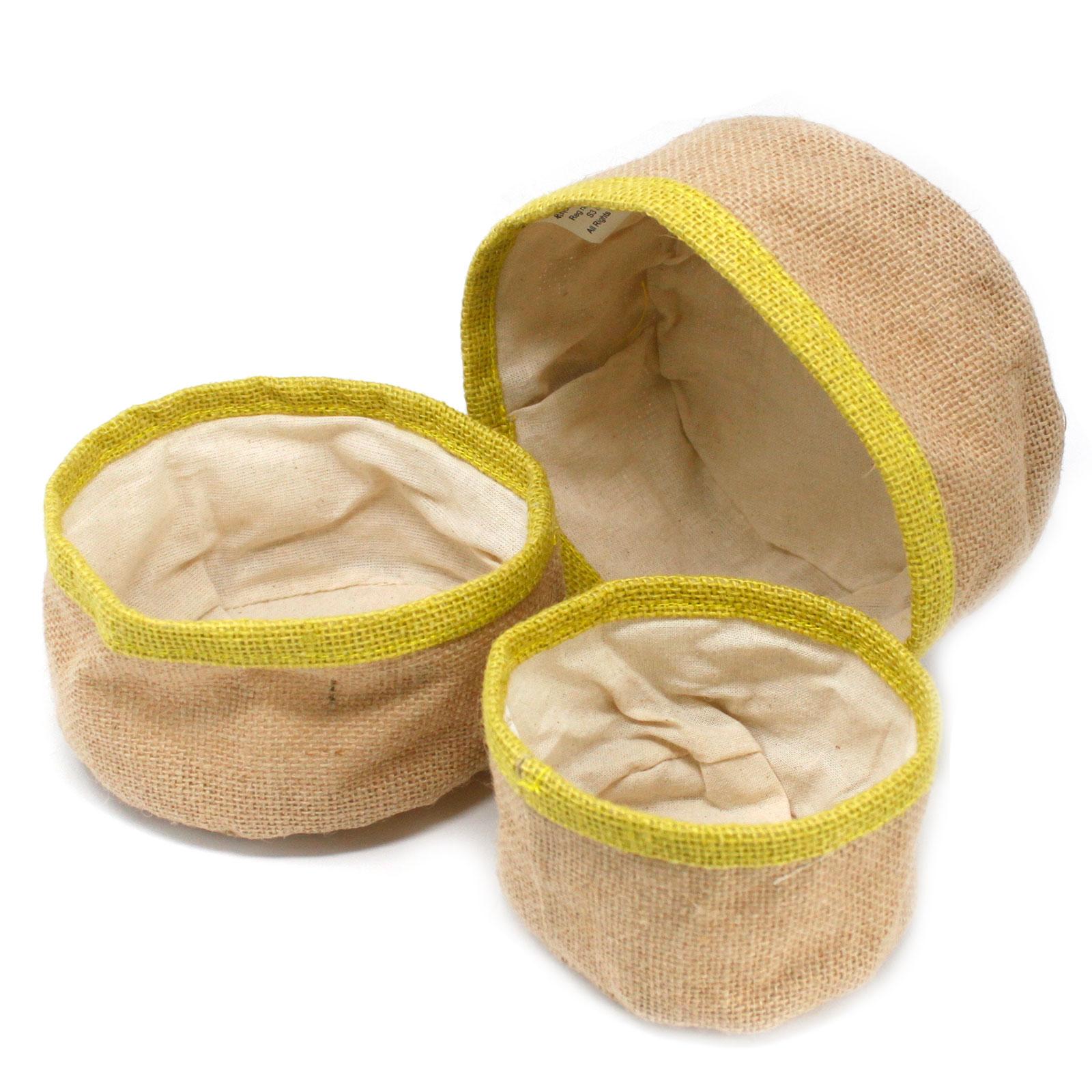 Set of 3 Natural Jute Baskets Olive