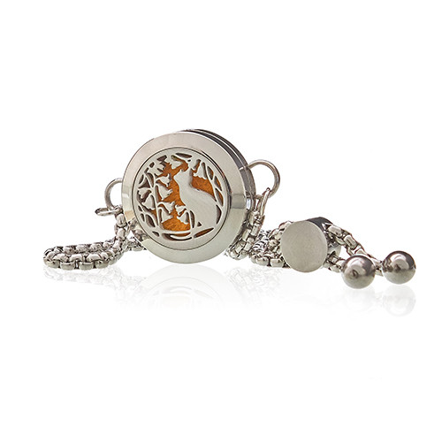 Aromatherapy Jewellery Chain Bracelet Cat and Flowers 20mm