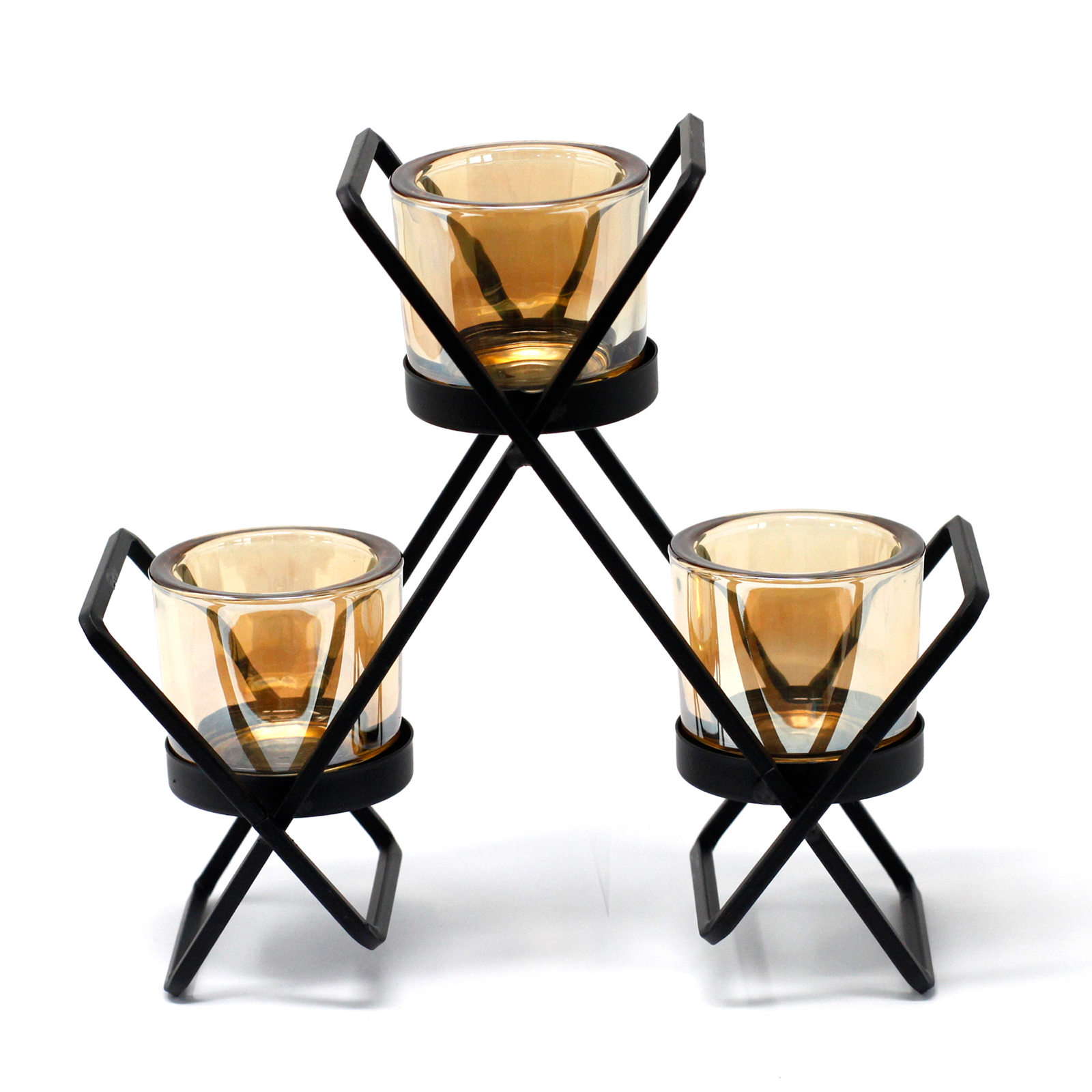 Centrepiece Iron Votive Candle Holder 3 Cup Triangle