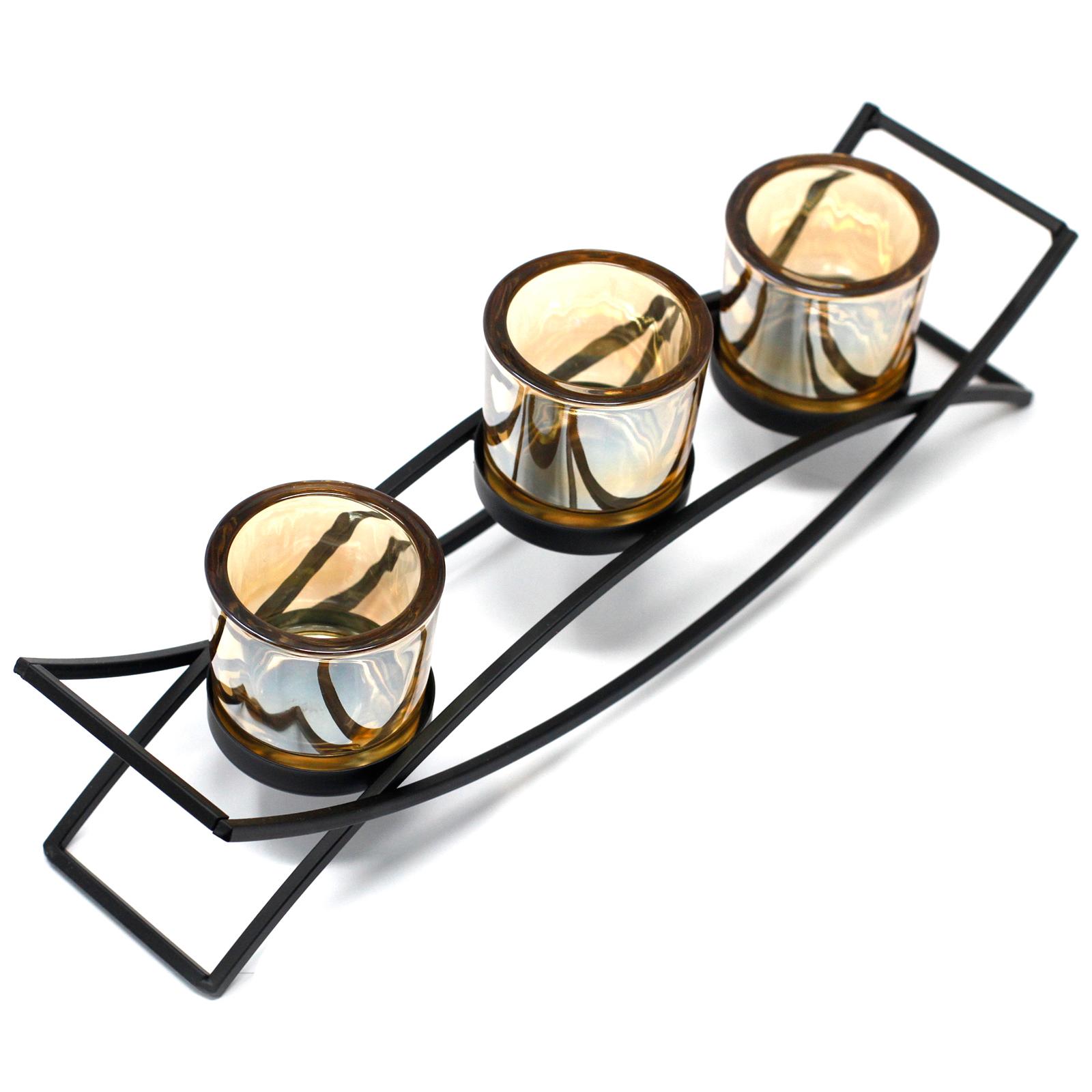 Centrepiece Iron Votive Candle Holder 3 Cup Silluethe