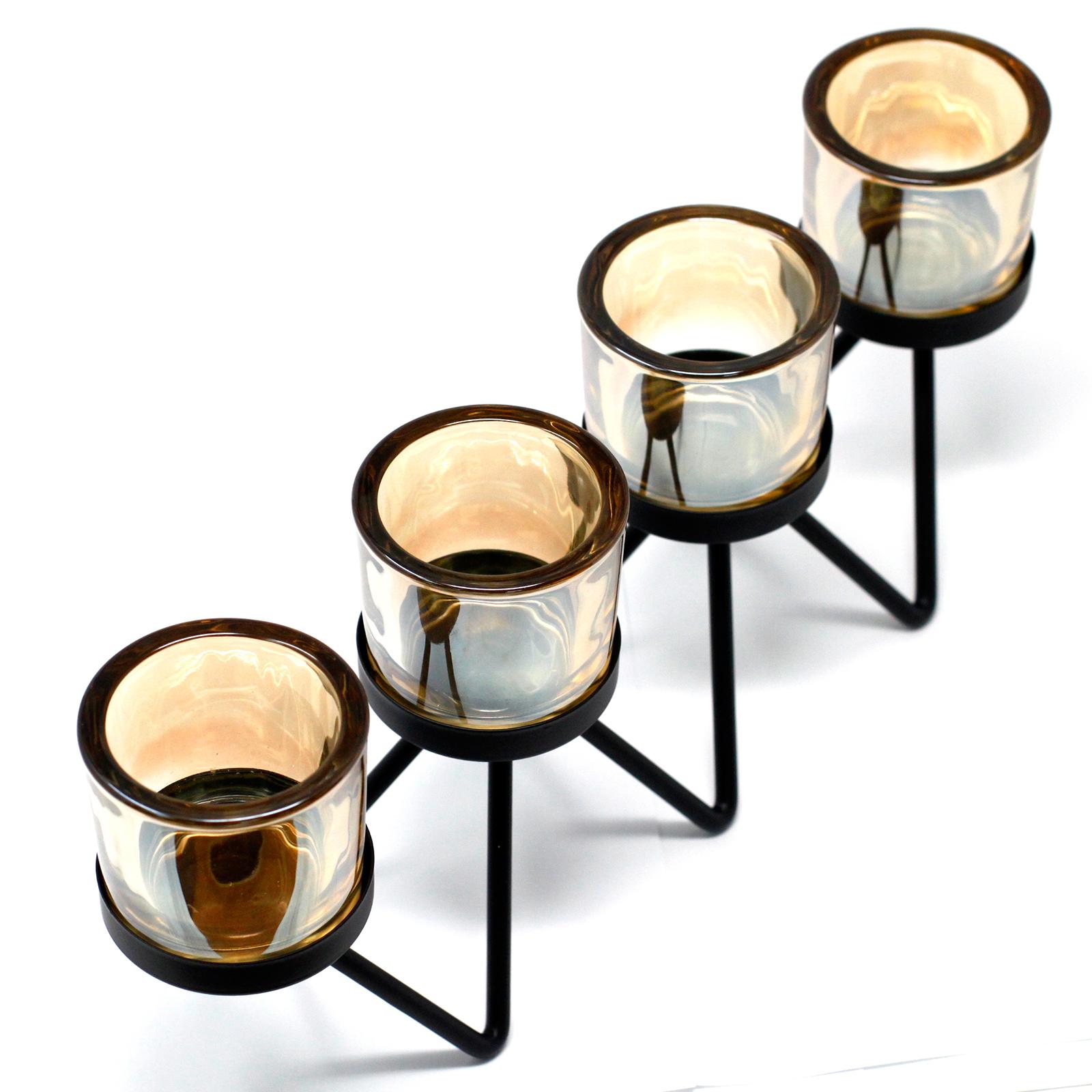 Centrepiece Iron Votive Candle Holder 4 Cup Zig Zag