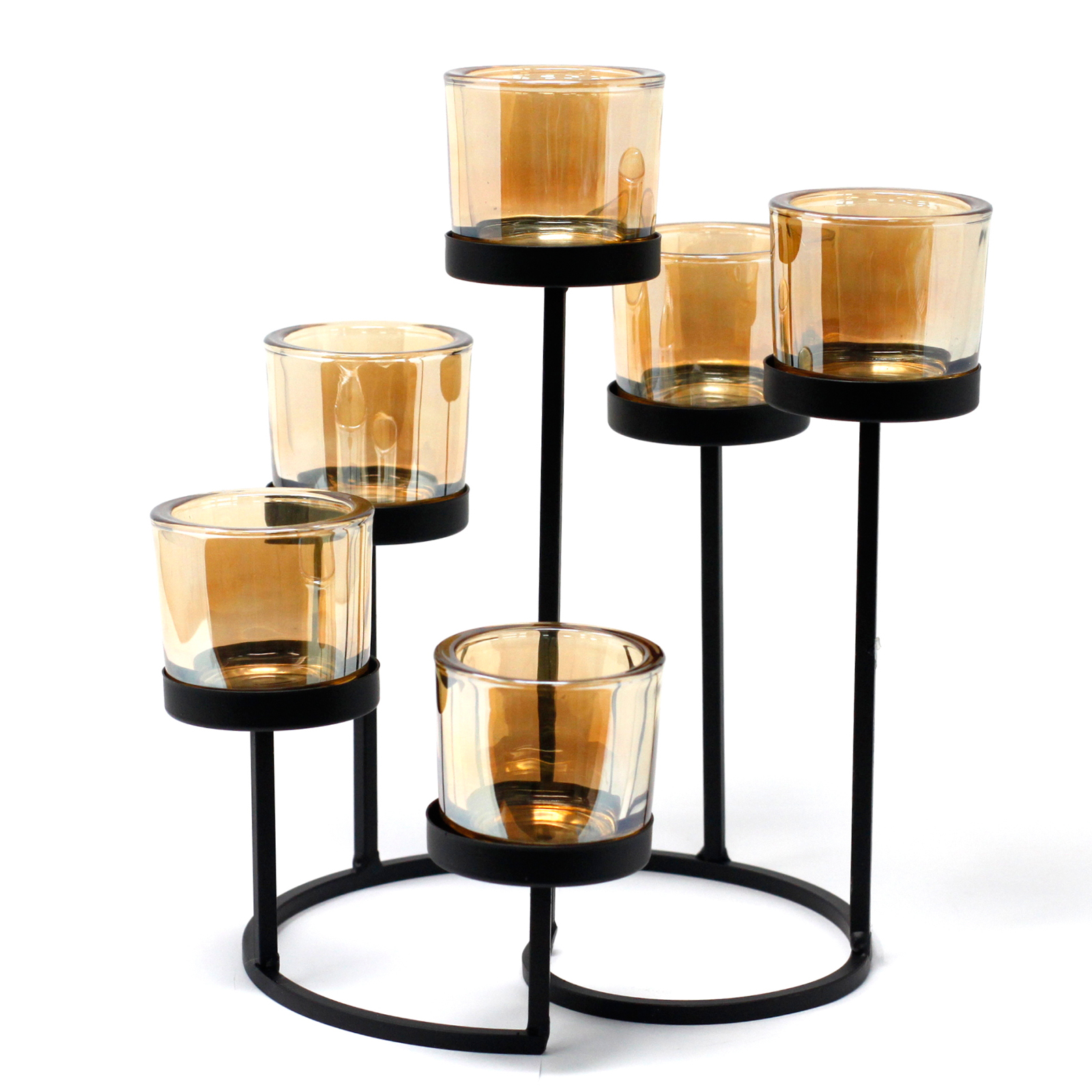 Centrepiece Iron Votive Candle Holder 6 Cup Circule Tree