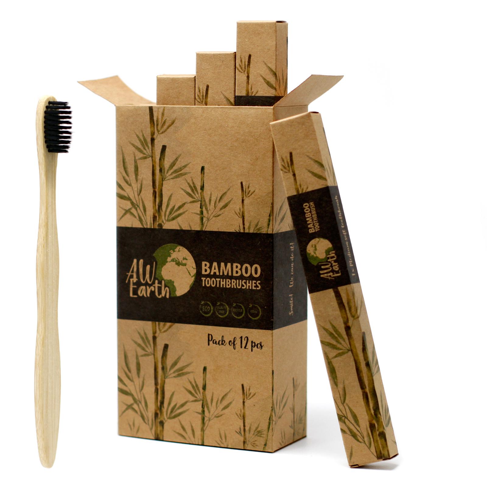 Bamboo Toothbrush Charcoal Medium Soft