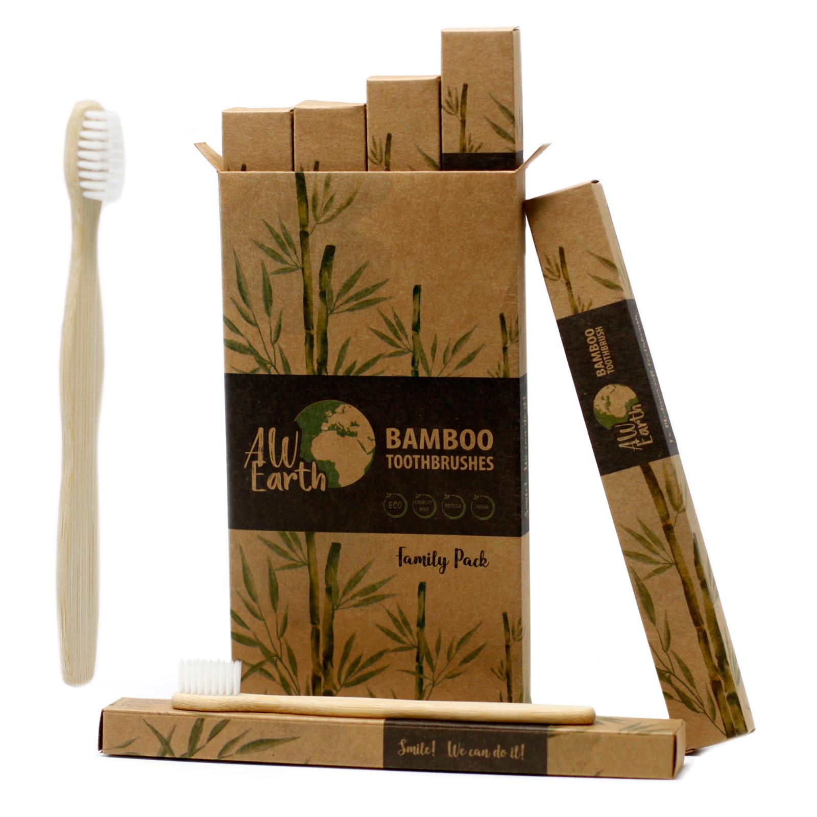 Bamboo Toothbrush White Family Pack of 4 Med Soft