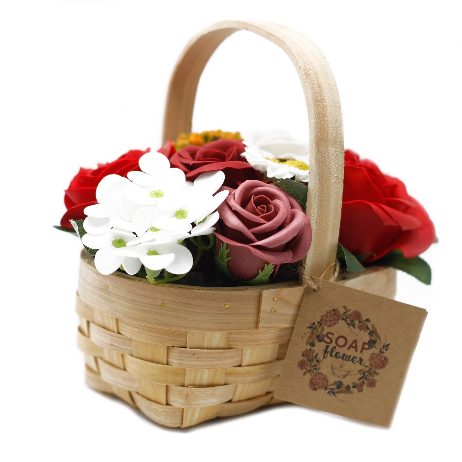 Medium Red Bouquet in Wicker Basket