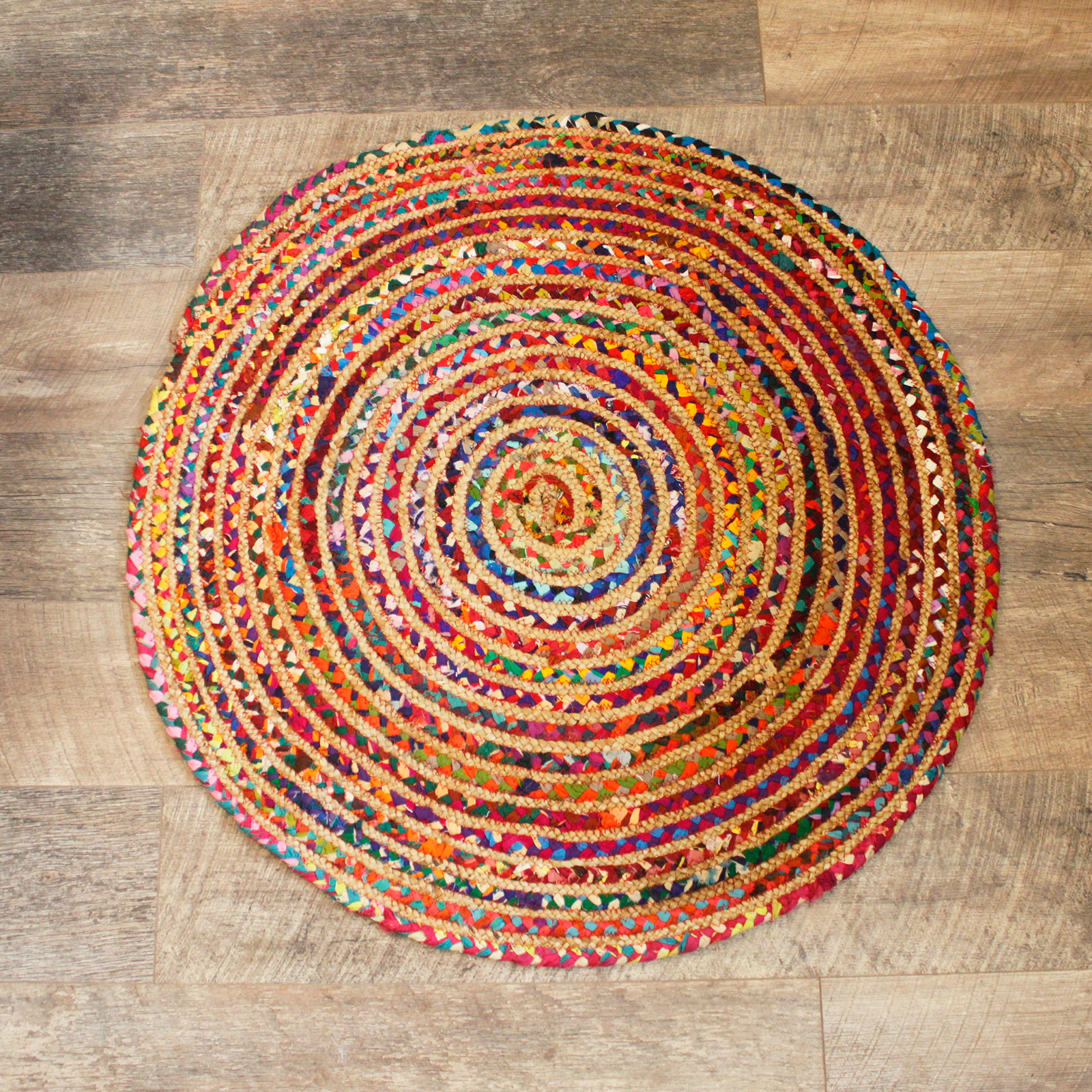 Round Jute and Recycled Cotton Rug 90 cm