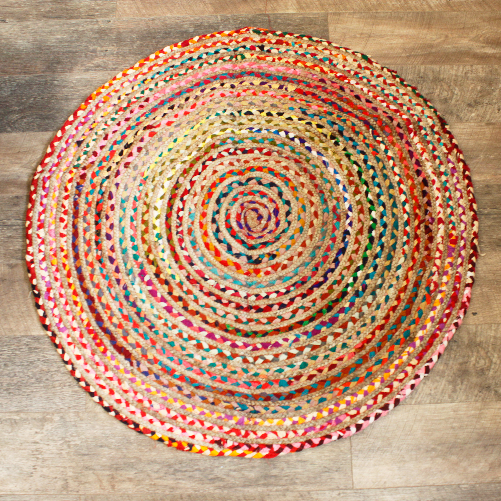 Round Jute and Recycled Cotton Rug 120 cm