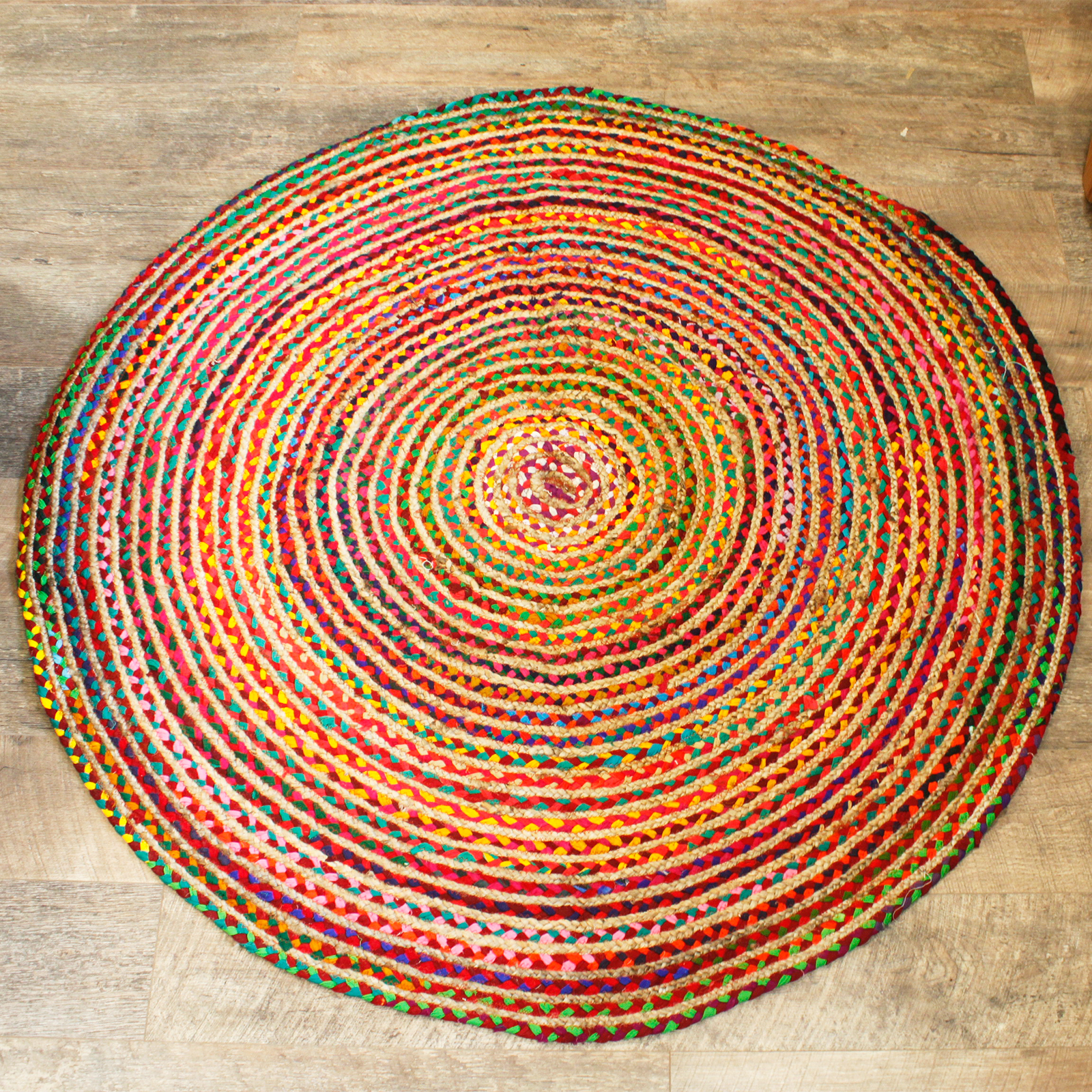 Round Jute and Recycled Cotton Rug 150 cm