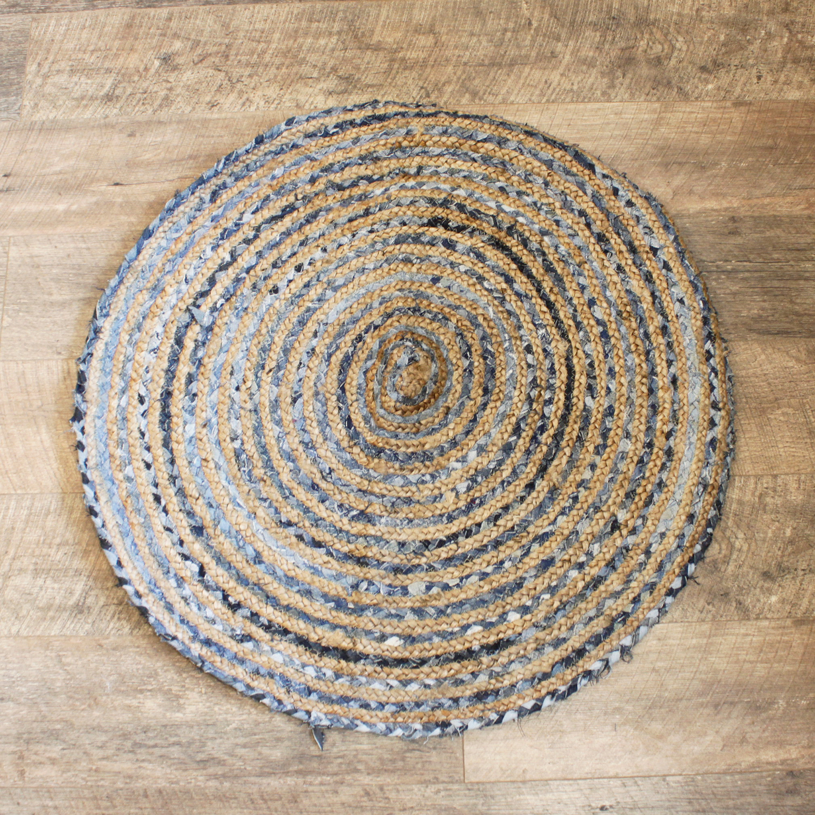 Round Jute and Recycle Denim Rug 90 cm
