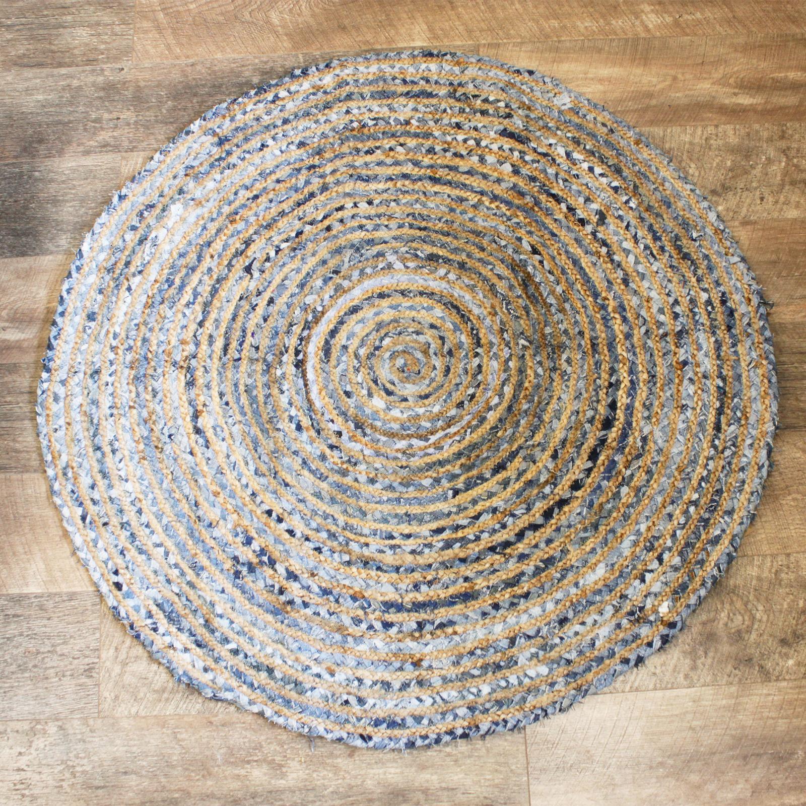 Round Jute and Recycle Denim Rug 120 cm