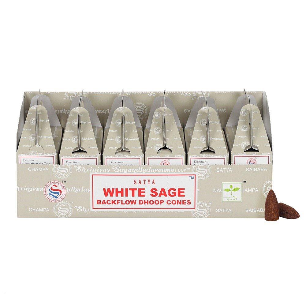 Satya Backflow Dhoop Cones White Sage 24pcs