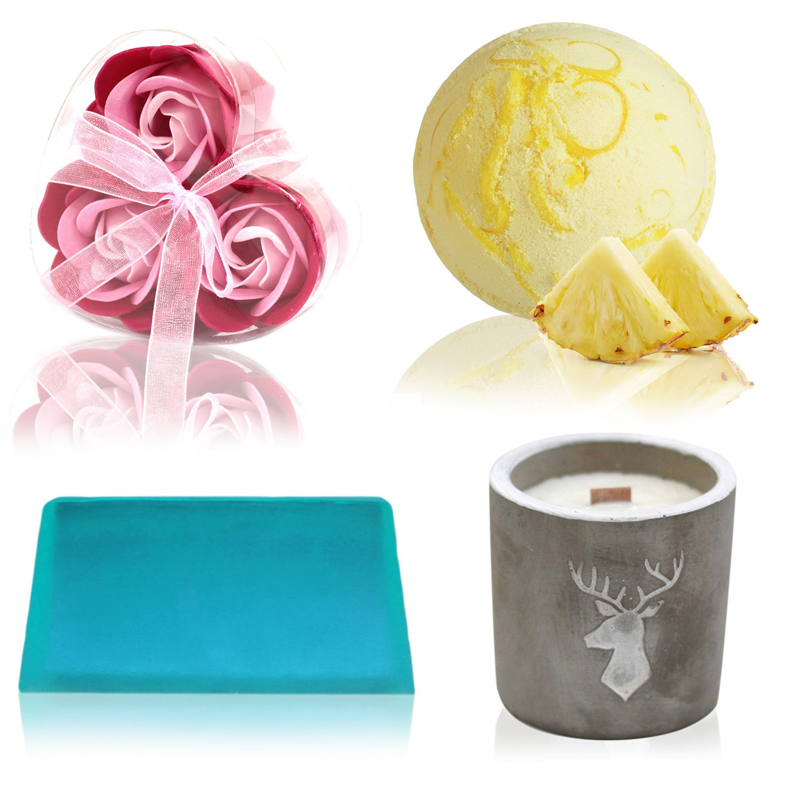 Bath Bomb Soap Flower Soap and Candle Treat Box