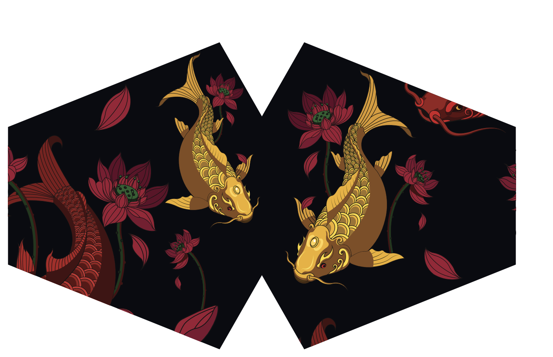 Reusable Fashion Face Mask Golden Fish Adult