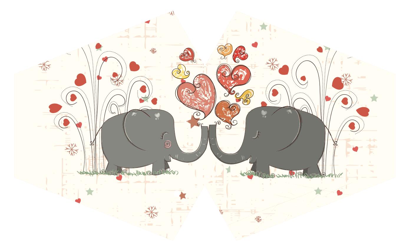 Reusable Fashion Face Mask Love Elephants Adult