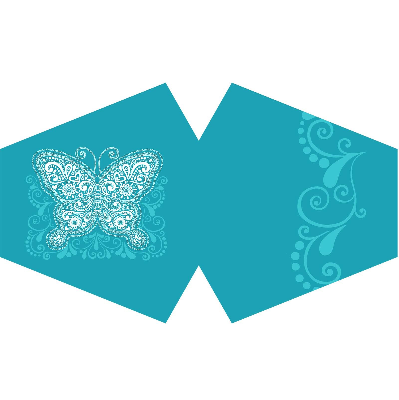 Reusable Fashion Face Covering Blue Butterfly  Adult