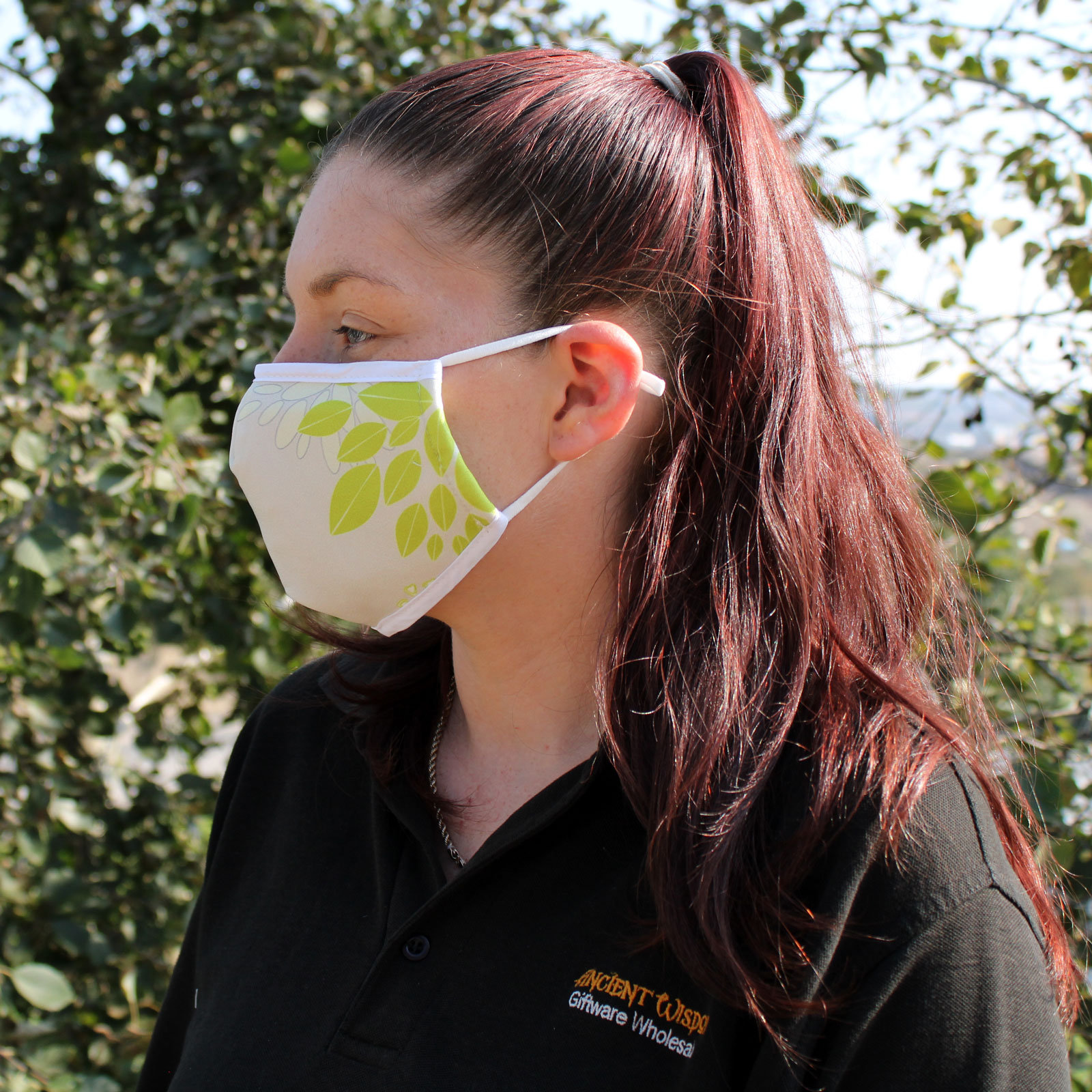 Reusable Fashion Face Covering Green Leaves Adult