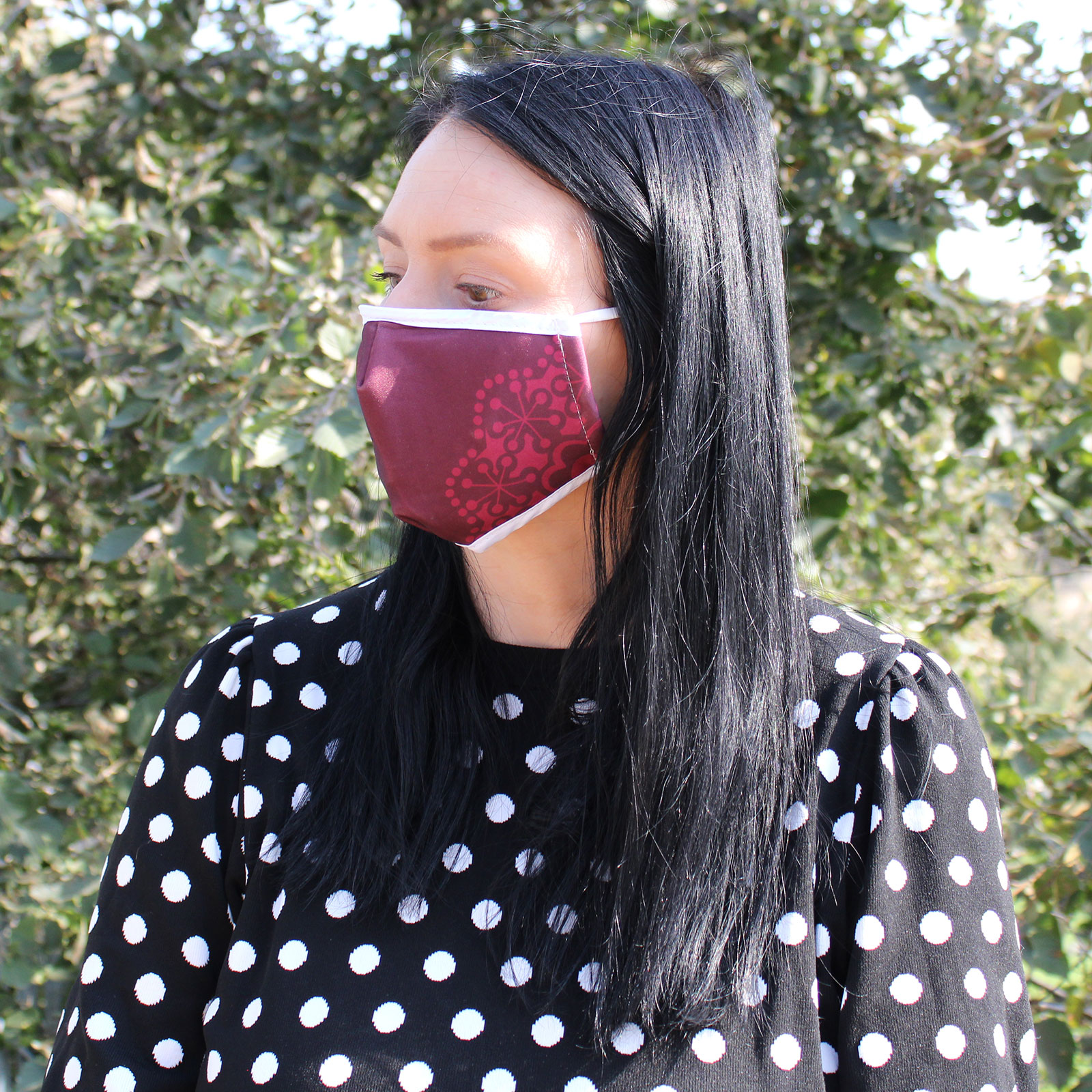 Reusable Fashion Face Covering Red Mandala Heart Adult