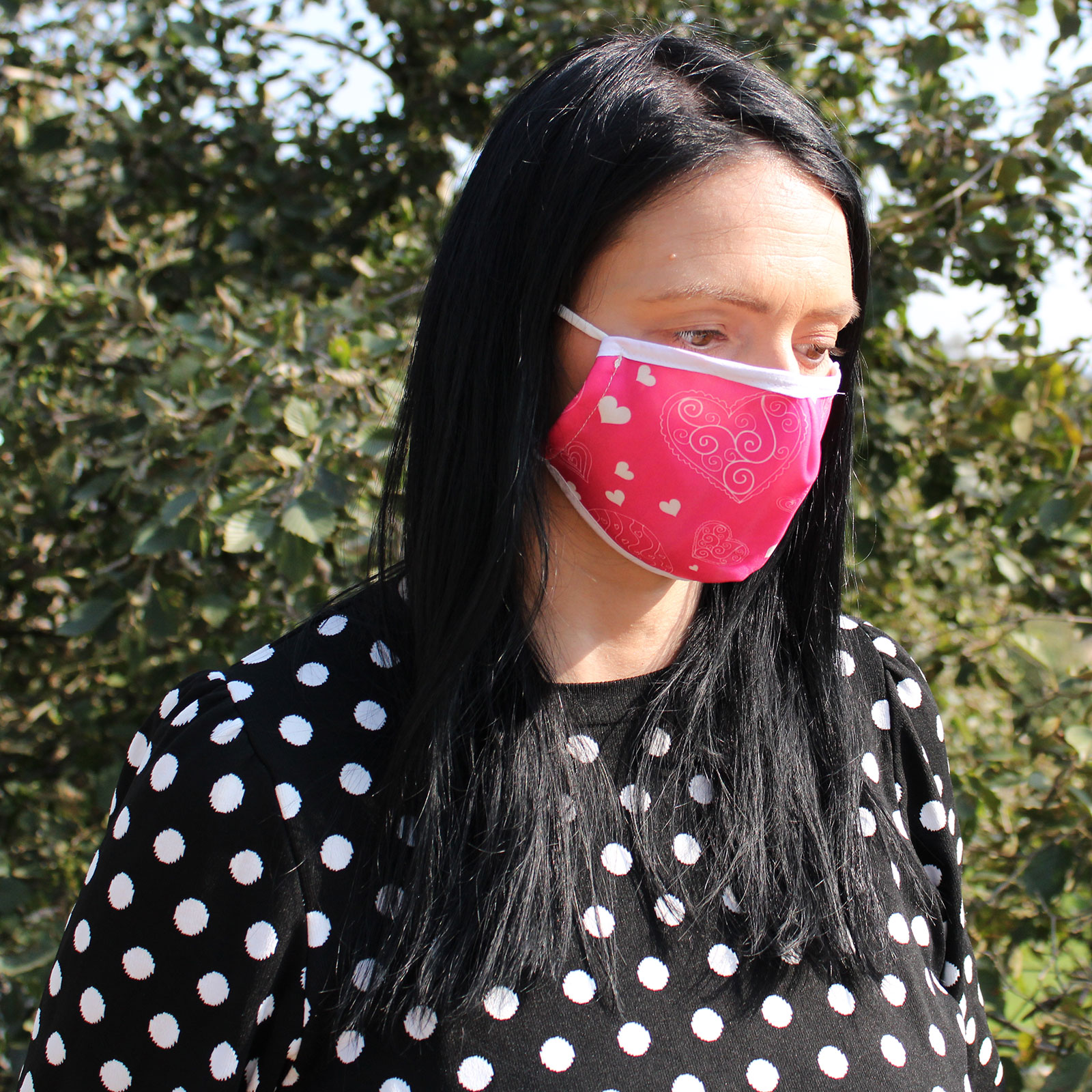 Reusable Fashion Face Covering Pink Hearts Adult