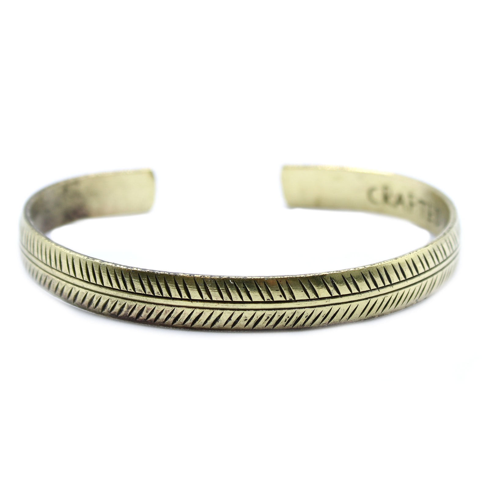 Brass Tibetan Bracelet Slim Tribal Leaf