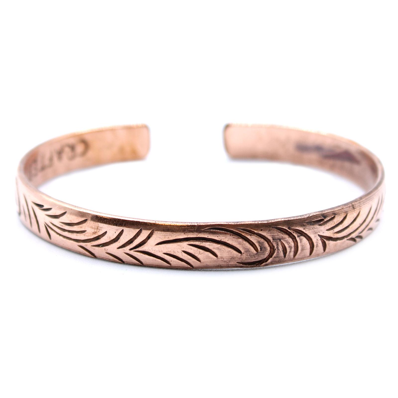 Copper Tibetan Bracelet Slim Tribal  Swirls