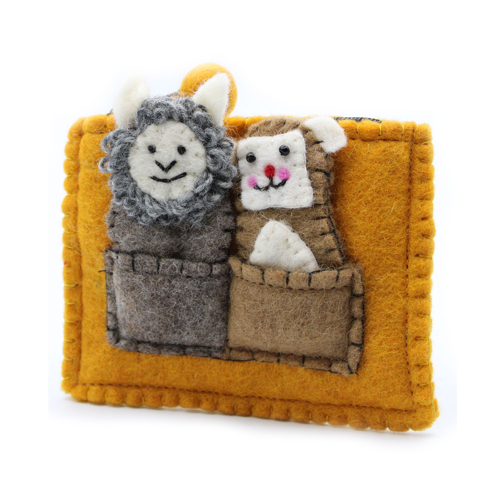 Pouch with Finger Puppets Bear and Sheep