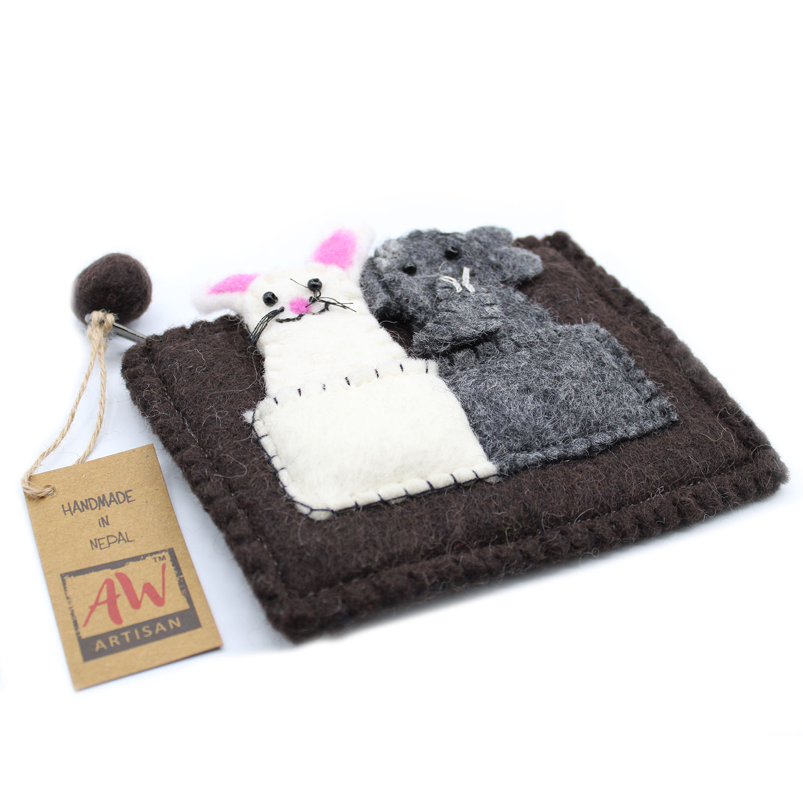 Pouch with Finger Puppets Elephant and Mouse