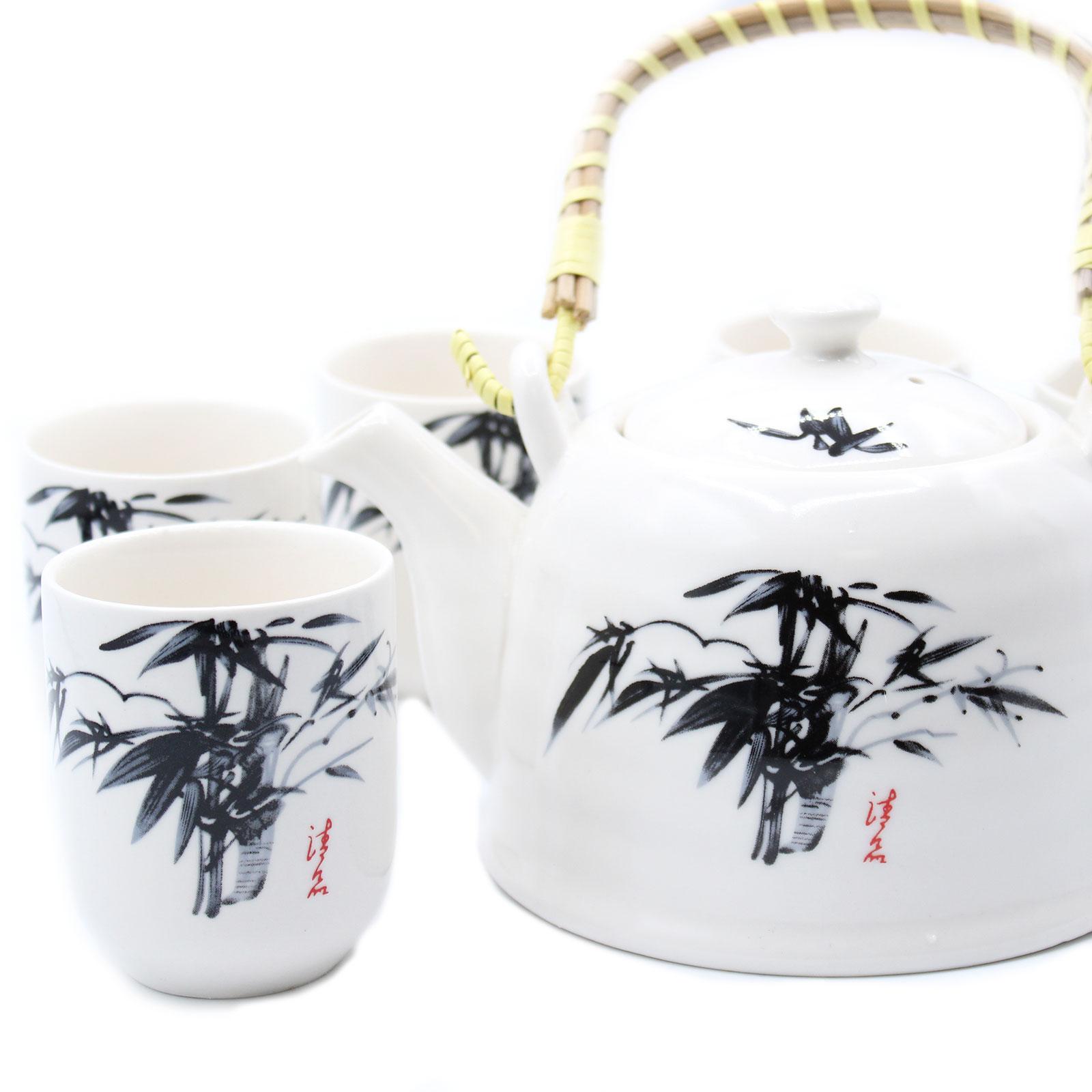 Herbal Teapot Set White Stone Oriental