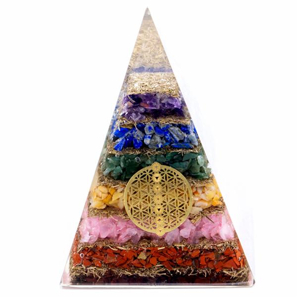 Orgonite Pyramid Seven Chakra Flower of Life 70 mm