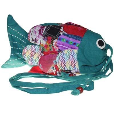 Recycled Handmade Fish Bags Green