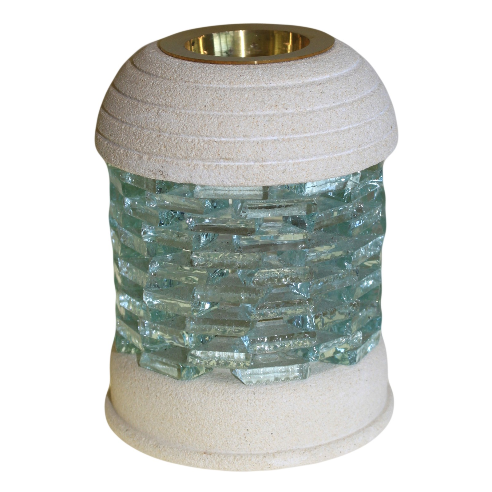 Stone Oil Burner Round Glass Brick