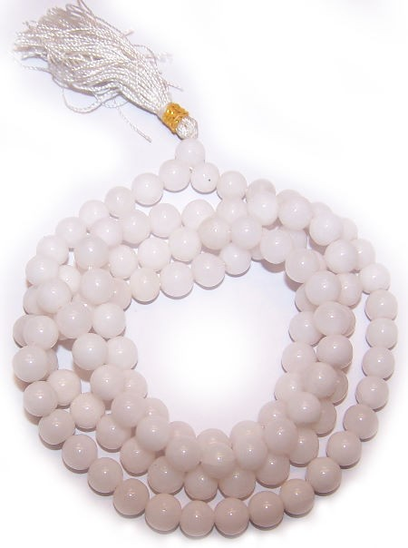 108 Bead Mala White Quartz